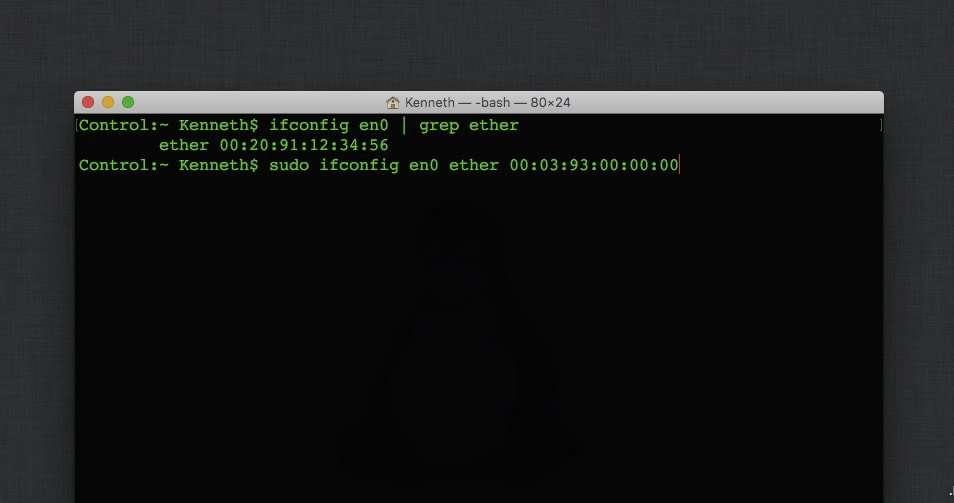 how to spoof mac address on osx